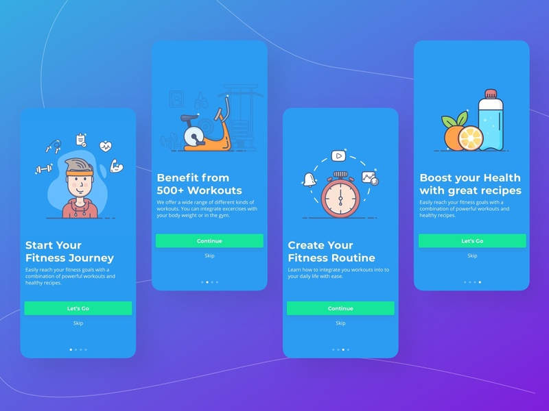 Onboarding / Walkthrough for Fitness App fitness app fitness onboarding ui onboarding screens walkthrough ui design mobile design mobile app design app ux ui mobile app