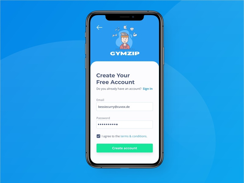 Sign Up/ Registration for Fitness App account registration form registration page registration register fitness app fitness ux ui design ui onboarding ui mobile design mobile app design app mobile app