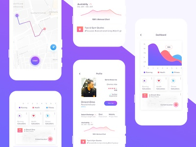 Fitness App Dashboard profile fitness app tracking menu intractive design login dashboard mobile app uiux