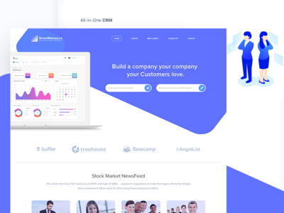 The Landing Page (Smart Money Application) ui design ui ux design dashboard webdesign website crm home landing page