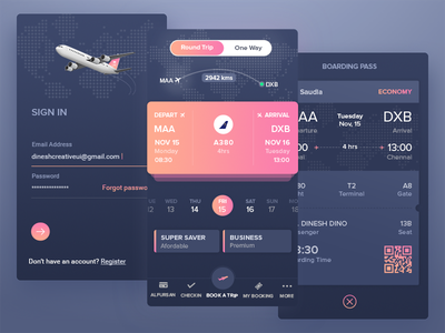 Flight Booking App |  Saudia boarding pass minimal ui app booking uxd ui ux flight app