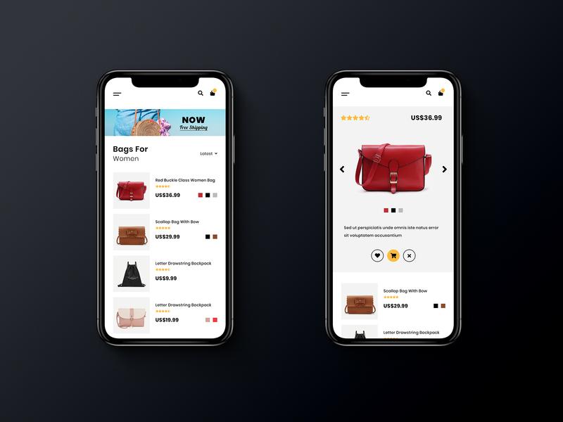 Bag Shop Mobile App Design user inteface woman bag shop design shop app iphone mobile mobile app ecommerce ux ui design