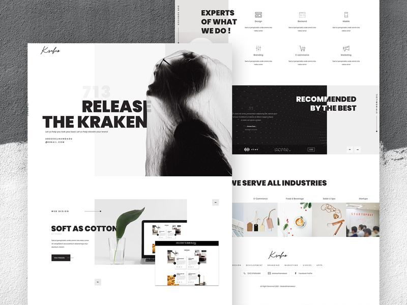 Release The Kraken - Creative agency UI Design agency typography illustration dark fashion black portfolio blog design art clean ux creative web design ui design