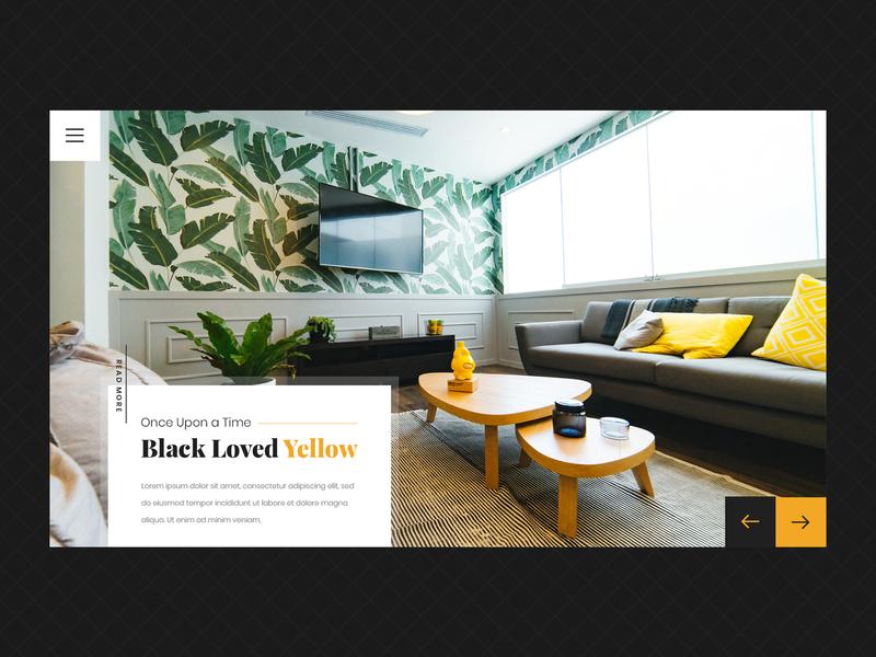 Interior Design Web Design - Black and Yellow creative design black and yellow yellow interior design interior typography black ux clean creative web design ui design