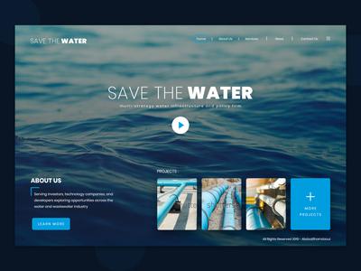 save the water - UI Design sea blue user interface design user interface save water clean web design ux creative ui design