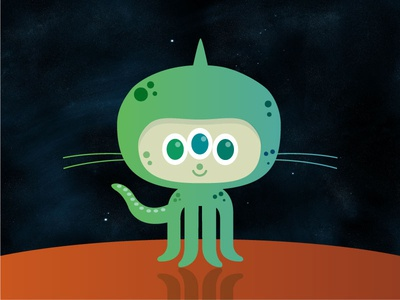 Octoalien illustration octocat alien space github