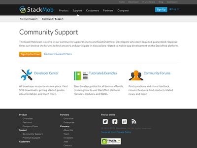 StackMob Support website site design web design ui support