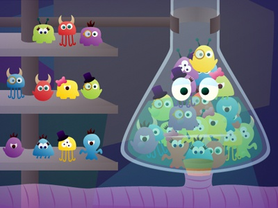 Beakers game illustration monsters color just for fun