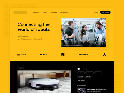 Landing page for a digital robot hub logos globe articles marketplace robot robotics