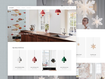 A product-centered homepage webshop danish ecommerce lamps homepage