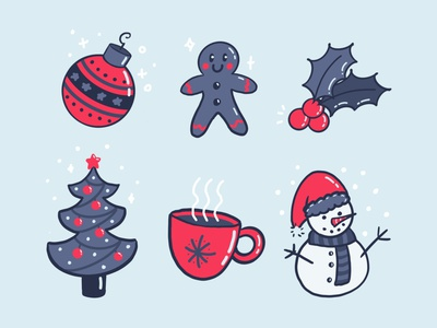 Christmas set winter holly biscuit cute procreate illustration snow xmas christmas
