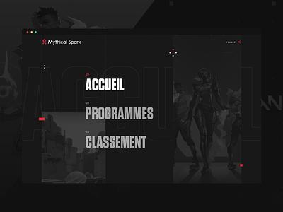 Mythical Spark - Valorant League gaming website league game app ux illustration design game ui game art gamer menu fullscreen menu esport game design gaming games