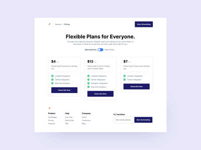 Pricing Page - Template ux web ui figma design