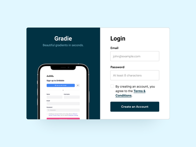 Gradie - Login Page login design login form login screen login page login ux landing page design web ui figma