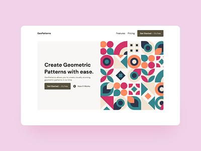 GeoPatterns Landing Page pattern geometric design geometric art dribbbleweeklywarmup ux landing page web ui figma design