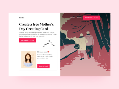 Mother's Day Greeting Card App - Landing Page illustration ux ui landing page web figma design