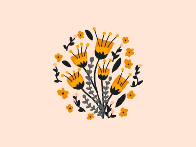 Floral procreate illustration flat line design vector