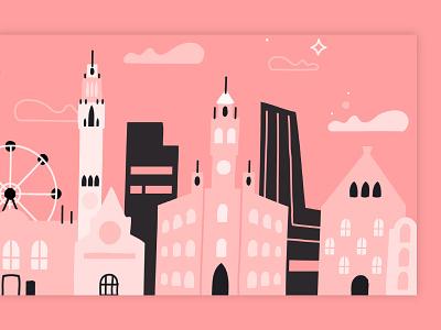Lille, France skyline france skyline event shape flat illustration design line vector