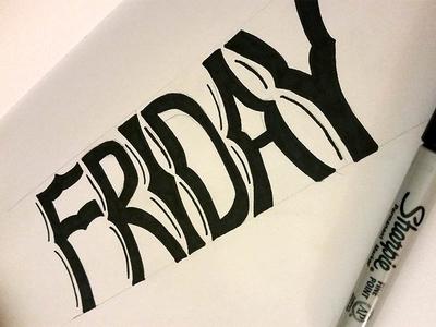 Friday typography black white hand-drawn sharpie sketch