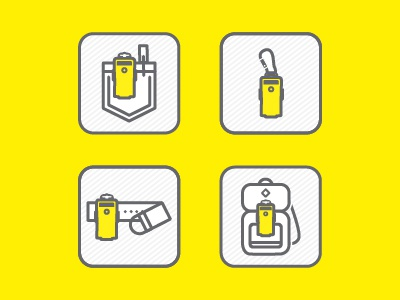 Scout Icons product uses website packaging backpack carabiner belt pocket uses line flat vector icons