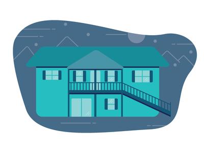 Illustration Challenge 1/5: Home blue nature home line flat vector design illustration