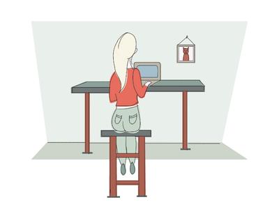 Illustration Challenge 2/5: Work pastel line illustration vector hand-drawn icons flat design