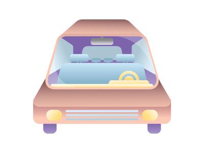 Illustration Challenge 3/5: The Car Ride car gradient design illustration flat line vector