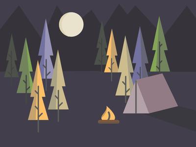 Illustration Challenge 5/5: The Camp illustration design icons flat line vector