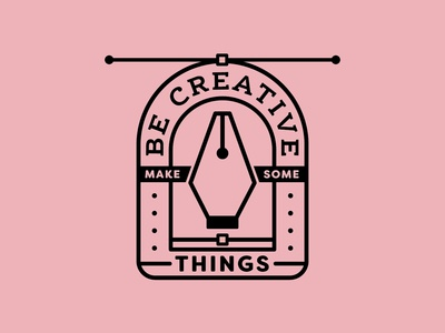 Be Creative 1/4 creative south branding badge logo shape icons pen tool flat logo black and white illustration design line vector typography badge design quote badge