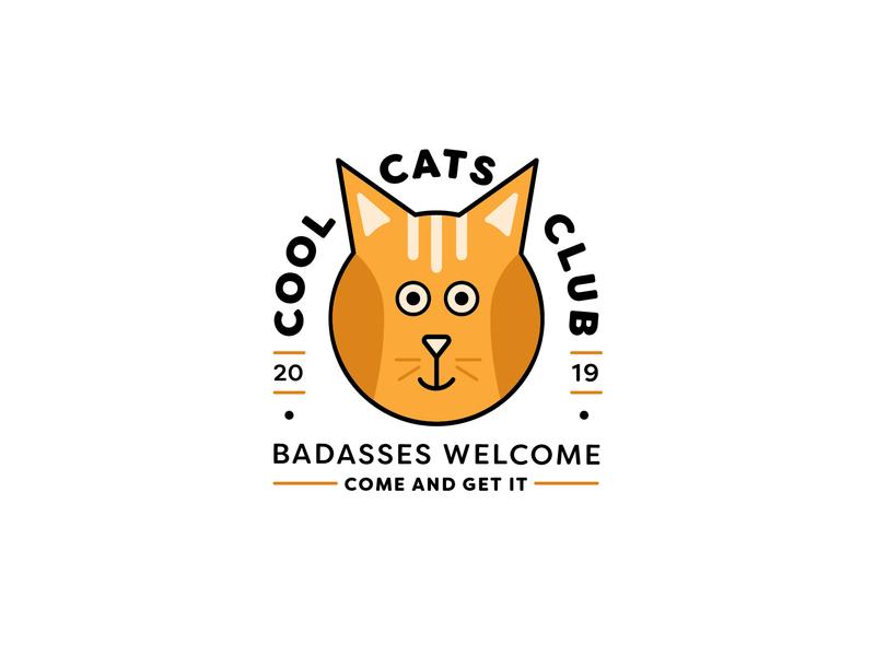 Cool Cats Club club logo badass cat badge cat illustration cat badge badge logo badge design graphic design branding shape illustration design typography icons flat line vector