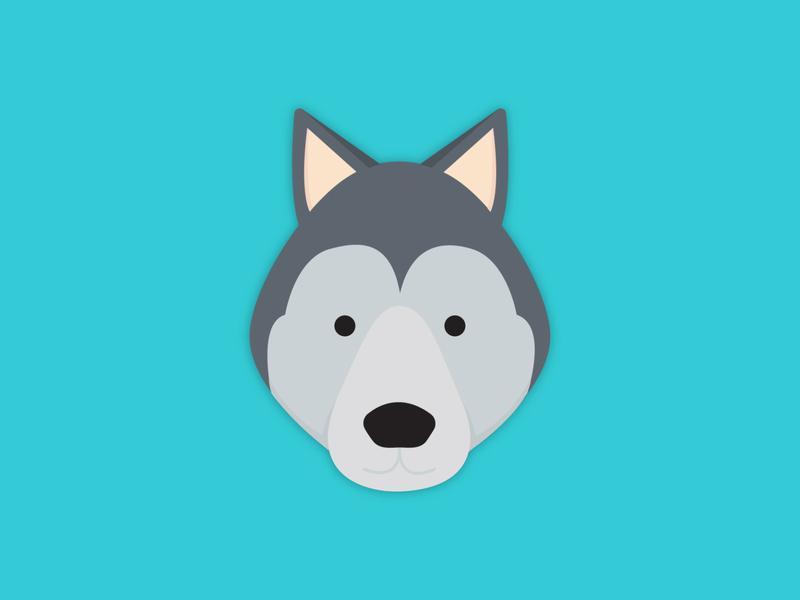 Wolf Illustration simplistic simple shape line illustrative illustration icons graphic design fun flat wolf design cheery bright animals animal illustration