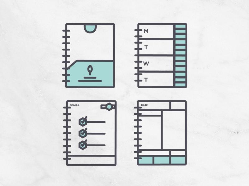 Planner Style Icons planner adobe illustrator graphic design shape line illustration flat icons design vector