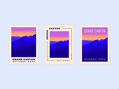 Grand Canyon National Park dribbbleweeklywarmup collaboration color national park design simple gradients grand canyon weeklywarmup postage stamp illustrator adobe fresco illustration
