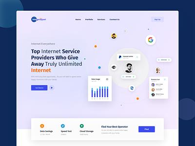 Internet Service Provider edge google paypal internet banner website provider service popus 3d animation