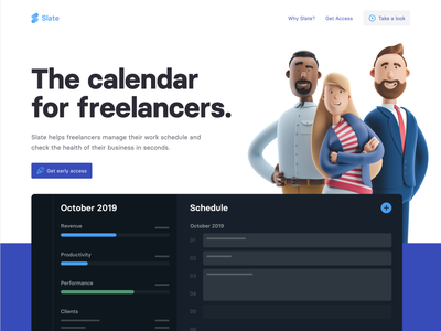 Slate Homepage calendar website 3d ui interface flat clean