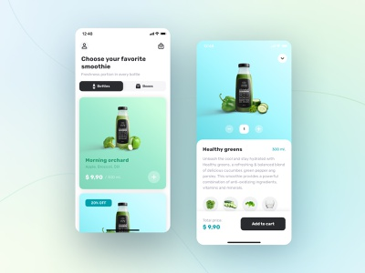 E-commerce drink delivery Mobile App Design minimal interaction interface delivery shop ecommerce blue green smoothie app design ux ui