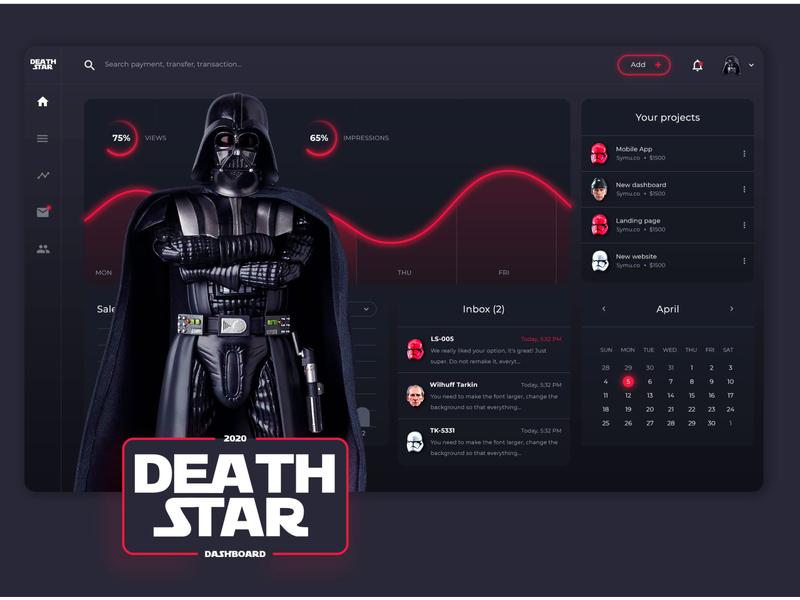 "Concept Star Wars ""Death Star"" Dashboard Design star wars logo drawing typography idea ios app good icon ui design"
