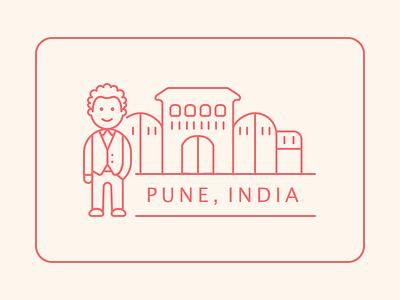 Sticker for Pune! (India) logo design sketchapp illustration vector minimal sticker pune india branding design branding