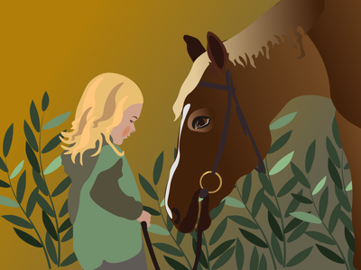 A girl and a horse девочка лошадь design illustration vector