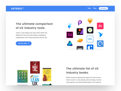 UX Tools Landing Page ux tools uxtools landing page design handoff monitoring prototyping tools