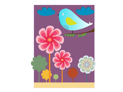 Birdie in the garden - Poster Art vector design illustration poster art poster birdie