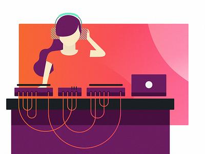 Last Night A DJ Saved My Life tables turn lady women wires macbook phones head gradient illustration stage set
