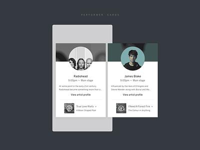 Performer Cards james blake radiohead profile layout circle avatar player ui performance music