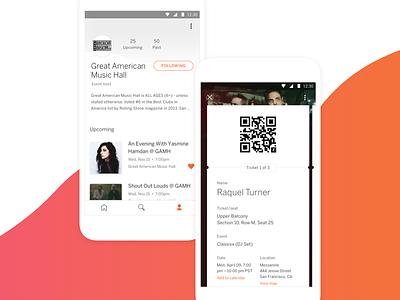 Eventbrite App - Profile & Tickets gradient ui square code qr organizer host follow event cards avatar