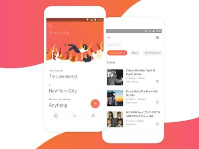 Eventbrite App - Search, Browse & Results ui swoosh mad lib illustration heart gradient filter fab event city card