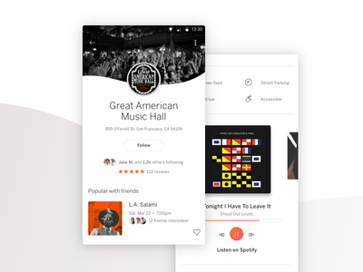 Venue Page ui android spotify icons image hero avatar event card playlist reviews app