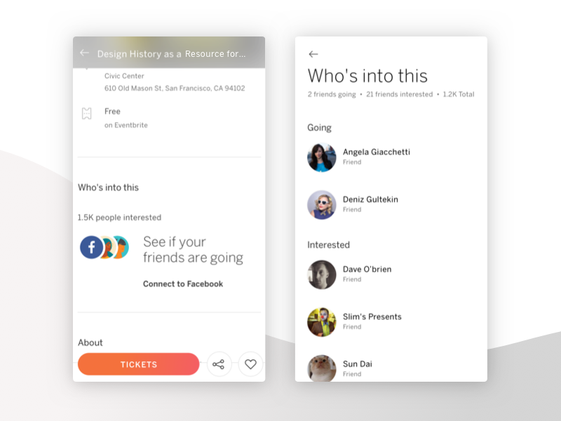 Connect To Facebook by Scott Brookshire for Eventbrite on Dribbble