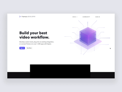 Developer Site for Frame.io api engineer developer cube animation motion webdesign web