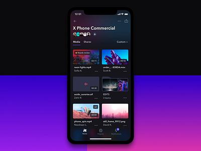 Project Page - Frame.io App Redesign video prototype principle app motion ui dark ui dark app cards animation