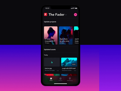Home Tab and Loading State - Frame.io App Update prototype motion iphone x ios7 gradient dark ui dark mode cards app animation after effects